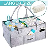 Hmlike Nappy Caddy Organiser, Larger Diaper Caddy with Nursery Dividers and Cover - Baby Box Storage Portable Car Organizer Newborn Essentials Baby Shower Gifts