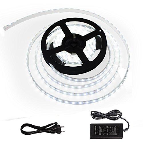 Toplanet Led Streifen SMD LED Strip 300 Leds 5m Band Leiste DC 12v Innen-Beleuchtung 6000k Weißes Licht mit Netzteil