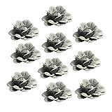 MagiDeal 10er Set Blumen-Köpfe Kunstblumen Blüten Rose Künstliche Blumen Hausdeko Hochzeit Heimdeko - Grau, wie beschrieben