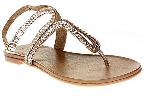 Inuovo 6196 - Sandali Da Donna Pantofole Infradito - Oro, 40 EU