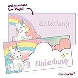 15 Einhorn-Motiv Einladungskarten mit Umschlag I dv_201 I DIN lang I Einladung Set zum Ausfüllen für Mädchen I Kinder-Geburtstag Einschulung