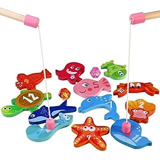 BESTOYARD Angelspiel aus Holz Angeln Spielzeug Kinderspiel mit 12 Verschiedenen Holz Magnet Fische und 2 Ruten, Perfekt Lernspiel für Kinder Früherziehung
