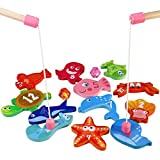 BESTOYARD Fishing Game with 12 Different Wooden Magnetic Fish and 2 Poles