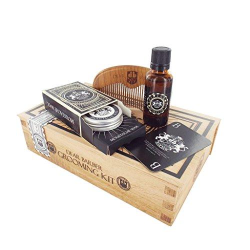 Dear Barber Beard Grooming Men's Gift Set Collection, Beard Oil 30ml, Moustache Wax 25ml & Beard Comb