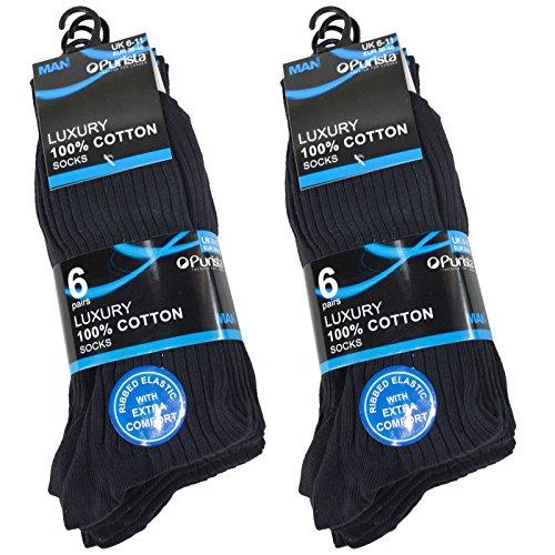 12-er Pack Herrensocken Man Basic 100% Baumwolle Luxus Kleid Socken für Herren-Schwarz-Größe 39/46 EU - 100% Baumwolle Kleid Socken