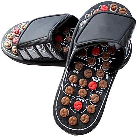 ZHLONG Gli uomini massaggio pantofola piede punto salute casa pantofole , black , large - Grande Punto Di Sonno Cozy