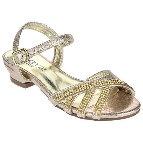 Aarz Filles Enfants Soirée Low Heel Diamante Sandales de soirée de mariage chaussures Taille (Or, Argent, Champagne) Or