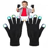 Cadeaux de WIKI pour les garçons de 3-12 ans, enfants colorés cadeaux clignotants de doigt pour les filles de 3-12 ans le meilleur gants d'éclairage de Gloving LED pour Halloween jouets pour les garçons Grils âge 3-12 Fête des mères WKFRSTG07...