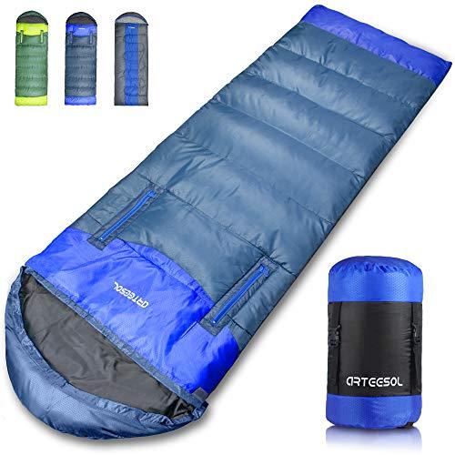 arteesol Reachable Mummy Schlafsack wasserdichte Hohle Baumwollfüllung für Kinder, Jugendliche, Erwachsene 10 Jahreszeiten Camping, Wandern, Outdoor