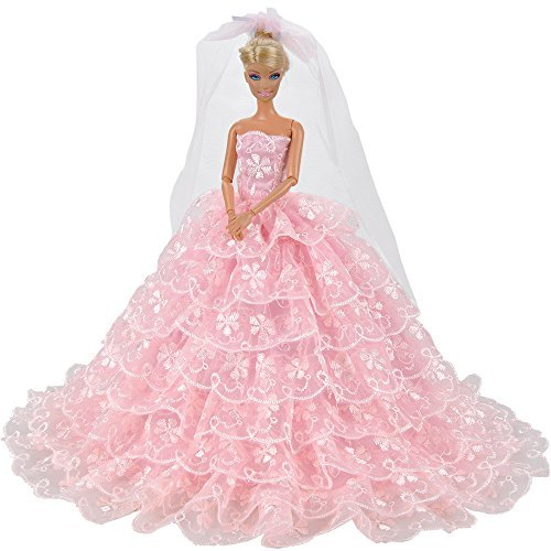 E-TING Prinzessin Puppe Kleid Kleidung Abend Party-Outfit + Schleier Set für Barbie Puppe beste Geschenk für Ihre Mädchen (Barbie-sets Und Barbie-puppen)