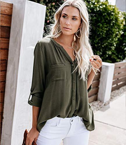 Ehpow Damen Langarm V-Ausschnitt Bluse Einfarbig Casual Button Down Oberteile Shirts(Medium,Grün)
