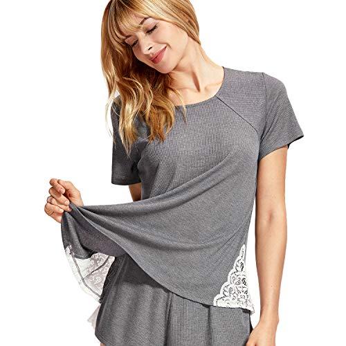 DELIMIRA Damen Schlafanzugoberteile - Kurzarm Nachthemd Schlafanzug mit Spitze Grau L