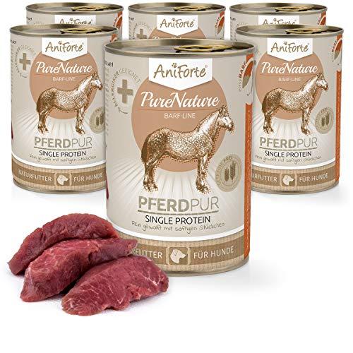 AniForte Barf Hundefutter Nass Pferd 6 x 400g - Fleisch Pur, Barffleisch für Hunde, Barffutter, Nassfutter mit extra hohem Fleischanteil, getreidefrei, ohne Zusätze, Wet Dog Food Dosenfutter