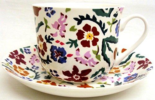Wild Flower Meadow Breakfast Tasse & Untertasse Fine Bone China groß Tasse & Untertasse Hand in Großbritannien) Dunkelviolett Meadow Flowers Bone China