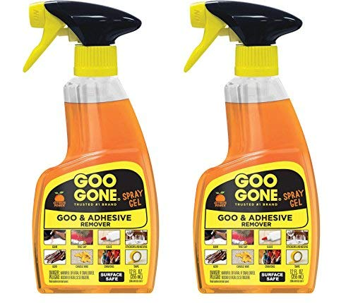 Goo Gone GGHS12 Goo Remover Spray Gel 12 oz, Removes Chewing Gum, Grease, Tar, Stickers, Labels, Tape Residue, Oil, Blood, Lipstick, Mascara, Shoe polish, Crayon, etc. (2-Pack)
