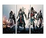 Keilrahmenbild auf Leinwand 3 teilig Assassins Creed 36 3x90x40cm (Gesamt 120x90cm) Ausführung...