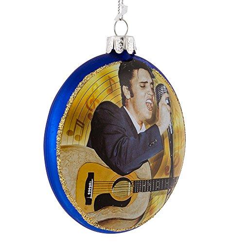 Kurt Adler Elvis Wildleder Schuhe Glas Scheibe Ornament, Blau -