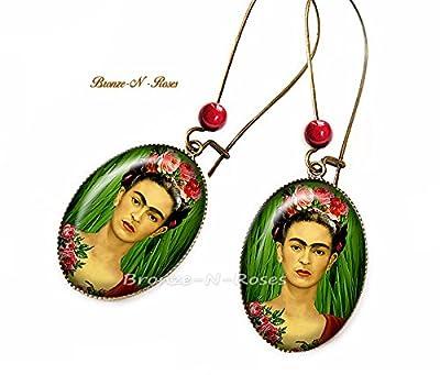 Boucles d'oreilles Frida Kahlo artiste peintre bronze-n-roses cadeau