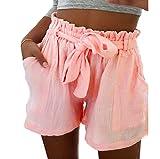 ABsoar Leggings Sommer beiläufige Kurzschlüsse,ABsoar Damen heiße Hosen Hohe Taille Strand Shorts Print Strand Casual Shorts Yoga Shorts (XXL, Rosa)