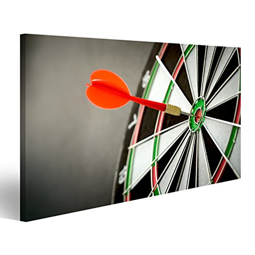 islandburner Bild Bilder auf Leinwand Rechts auf Zielkonzept mit Dart im Bullseye auf Dartscheibe Wandbild, Poster, Leinwandbild FTL