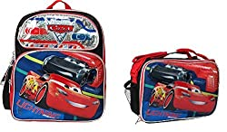 Disney Cars 3 Boys 12 Canvas Black & Red School Backpack with Lunch Bag
