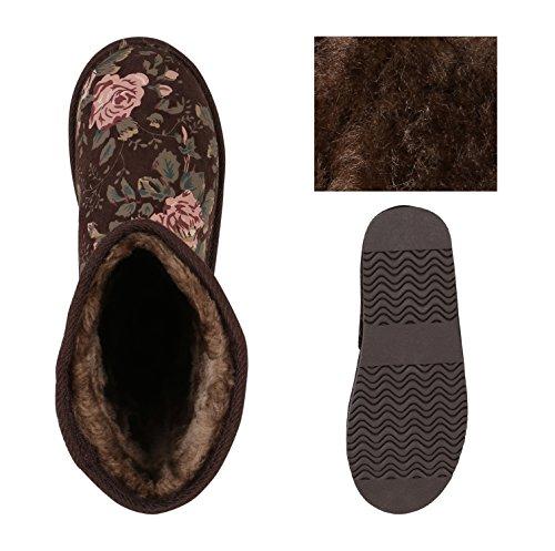 Warm Gefütterte Damen Stiefel Boots Schlupfstiefel Kunstfell Schuhe Dunkelbraun Flower