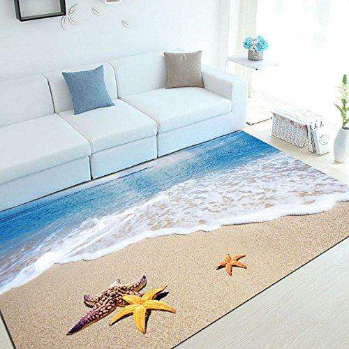 Tür-matte, Wolldecke (WXDD Mediterranen Stil 3D Teppich Wohnzimmer Sofa Kaffee mat Sommer 3D-fußmatte Haushalt Schlafzimmer rechteckige Tür Matte, Mat 60 x 90, Blau beach Star)