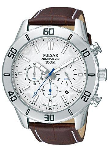 Pulsar Hommes Chronographe Quartz Montre avec Bracelet en Cuir PT3433X1