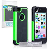 Yousave Accessories Tough Grip Combo Silicone Cover Case for iPhone 5/5S - Black/Green