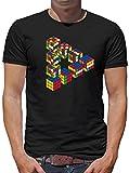 Escher Zauberwürfel T-Shirt Herren M Schwarz