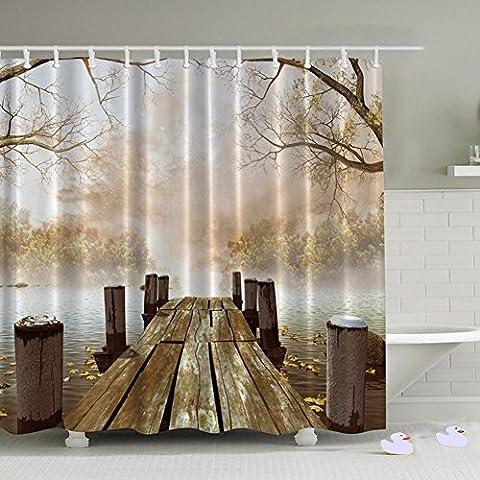 Kabeier Rustic Decor Shower Curtain Waterproof Fabric Bathroom Set 12 Hooks, Bridge Digital printting