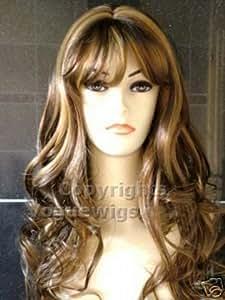 Forever Young Perruque pour femme Cheveux longs et bouclés brun chocolat avec mèches blond doré