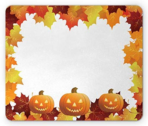 Halloween Mouse Pad, Autumn Colors Fall Leaves and Spooky Smiling Pumpkins, Standard Size Rectangle Non-Slip Rubber Mousepad, Burnt Orange Rust Burgundy and Yellow Ut Burnt Orange