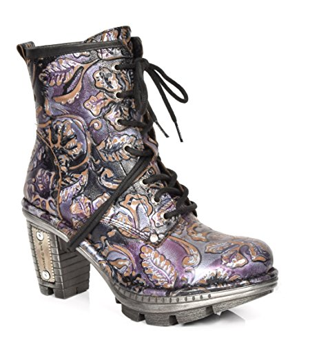 New Rock Damen Schnürsenkel Paisley Druck Knöchel Stiefel Etches Leder Blockabsatz Schuhe (EU 40)
