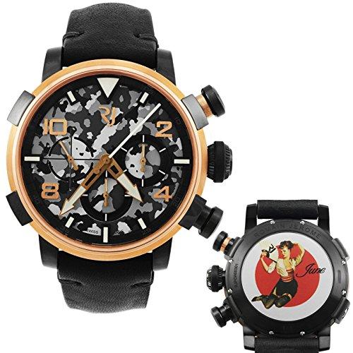 Romain Jerome Pinup DNA rosso oro Wwii giugno fan cronografo automatico...
