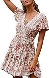 ECOWISH Damen Kleider Boho Vintage Sommerkleid V-Ausschnitt A-Linie Minikleid Swing Strandkleid mit Gürtel 045 Beige L