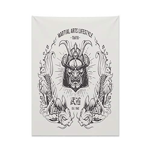 ABAKUHAUS japanisch Wandteppich, Asia Samurai Maske Nr aus Weiches Mikrofaser Stoff Kein Verblassen Klare Farben Waschbar, 110 x 150 cm, Kokosnuss Grau