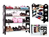 #4: HARSHEEN SALES Stackable Shoe Rack 12 Pairs Shoe Rack Organizer Four Layer Shoe Rack/Shoe Shelf/Shoe Cabinet Multipurpose Modern 4 Layer Metal Book Rack Storage Cabinet Best Foldable Movable Organize
