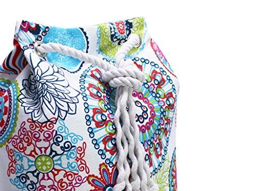 Blauer Rucksack mit buntem Mandala, veganer Seesack aus Canvas, mit Kordel aus Baumwolle - 5