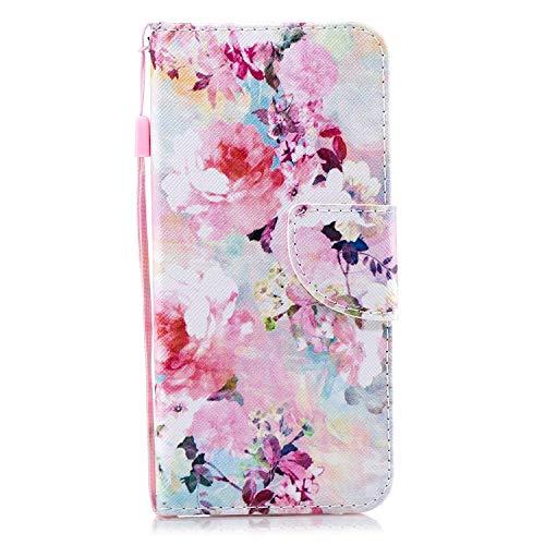 Uposao Hülle für Huawei Y5 2018 Handytasche Handy Hüllen Flip Case Cover Schutzhülle Brieftasche Ledertasche Wallet Lederhülle Etui Bookstyle Klapphülle Kartenfächer,Bunt Blumen