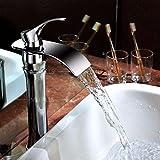 MEIBATH Badezimmer Waschbecken Waschtischarmatur Wasserhahn Küchenarmaturen Moderne Wasserfall mit warmen und kaltem Wasser Keramik einzelne Bohrung der Einhebelsteuerung Küchen Badarmatur Armaturen