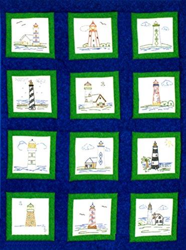 Jack Dempsey Motto Prägung weiß Quilt Blocks 22,9x 22,9cm 12/pkg-Lighthouses