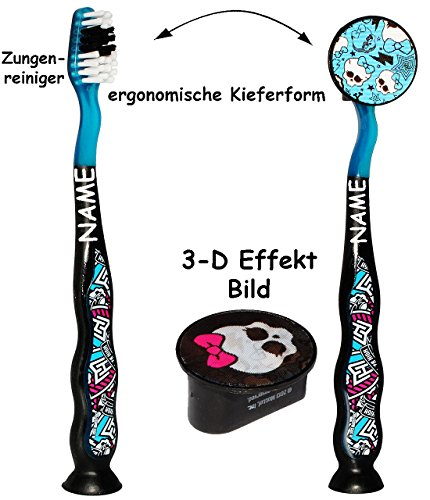 alles-meine.de GmbH Reiseset: ergonomische Zahnbürste incl. Schutzkappe _  Monster High  _ incl. Name - mit Saugnapf zum Hinstellen - Kinder & Baby / hochwertige Borsten - Reis..