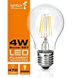 E27 LED 4W Lampe, 470 Lumen (ersetzt 40W Glühlampe), 3000K Warmweiß, 360° Abstrahlwinkel, modernes Filament LED Leuchtmittel