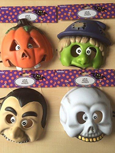 4 Masken * HALLOWEEN KIDS * für Kindergeburtstag oder Halloween // Kunststoff Maks Party Deko Dekoration Kinder Geburtstag Birthday Gruseln Kürbis Skelett Vampir (Halloween 4 Maske)