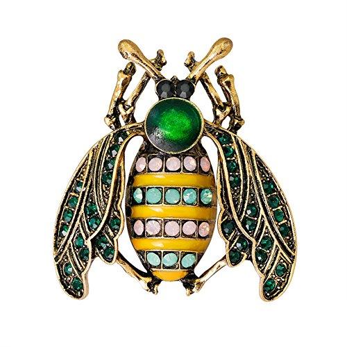 Lumanuby 1x Vintage Insekten Broach Pins für Herren und Damen Strass Honigbiene Anstecker mit Pin für Kleid Anzug oder Schal, Brosche Serie Size 4.0 * 3.7cm
