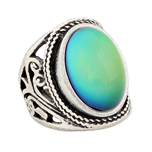 Mojo Jewelry - Anillo de humor cambiante de color para adultos, plata antigua esterlina, anillo con declaración vintage para mujer RS019