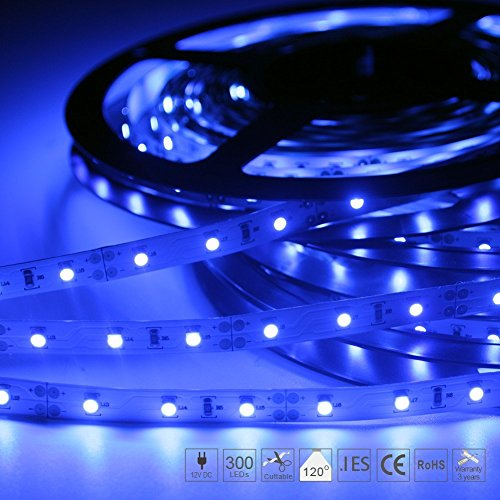 Signcomplex Flexibler LED Streifen 3528 SMD LED mit 3M Selbstklebe band 5 Meter pro Rolle 12 V DC (Blau) - Blau 12