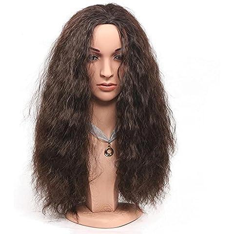 ZZHH Moda. Europea real pelucas de pelo marrón de las mujeres