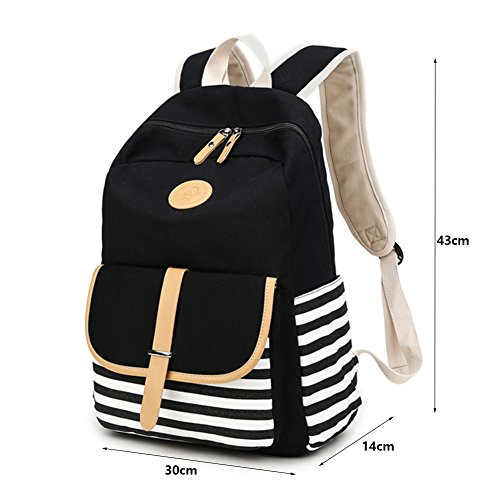 Leichte Nette Gestreifte Art und Weise Beiläufigen Art Segeltuch Laptop Tasche / Schulrucksack / Causal Handtasche / Schulter Rucksack / Daypack / Schule Outdoor Freizeit Rucksack. (schwarz) schwarz